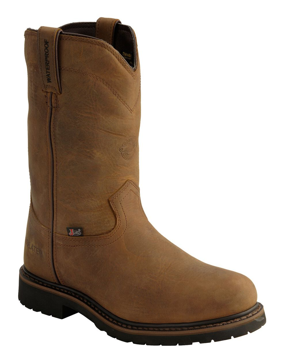 Justin Men's Drywall Insulated Waterproof Work Boots - Steel Toe, Brown, hi-res