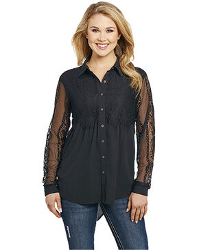 Cowgirl Up Women's Sheer Sleeve Top , Black, hi-res
