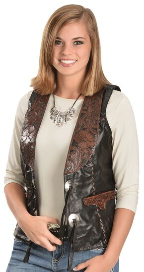 Kobler Floral Tooled Leather Vest, Black, hi-res