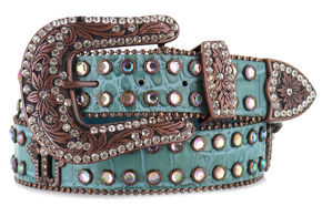 Shyanne Women's Gator Embossed Belt, Blue, hi-res