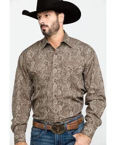 Roper Men's Brown Large Paisley Print Long Sleeve Western Shirt , Brown, hi-res