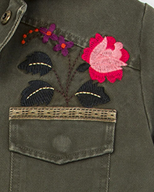 Miss Me Girls' Embroidered Military Jacket, Green, hi-res