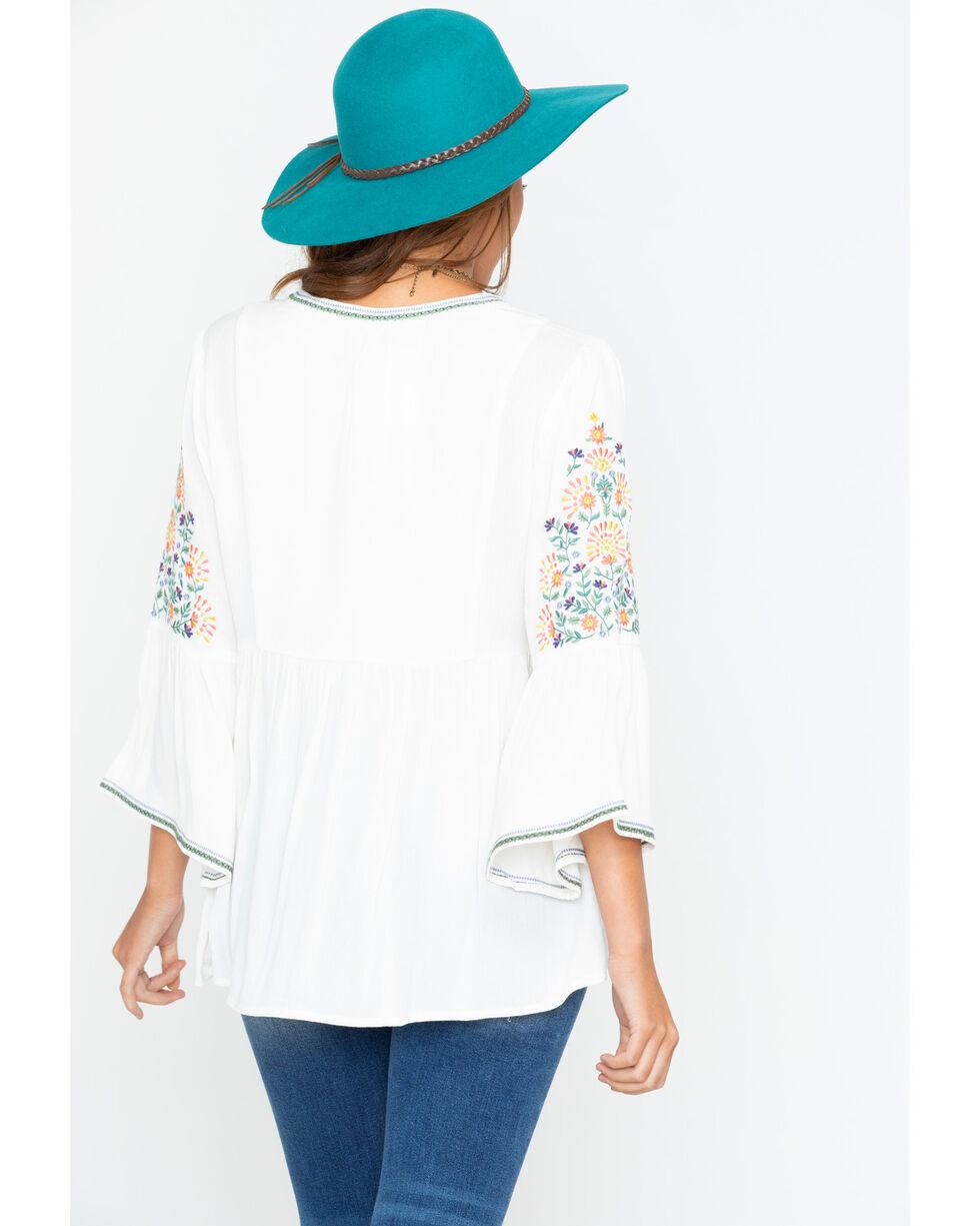Miss Me Women's Spring Days Peasant Top , White, hi-res