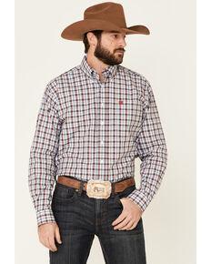 Cinch Men's Blue Med Plaid Long Sleeve Western Shirt , Blue, hi-res
