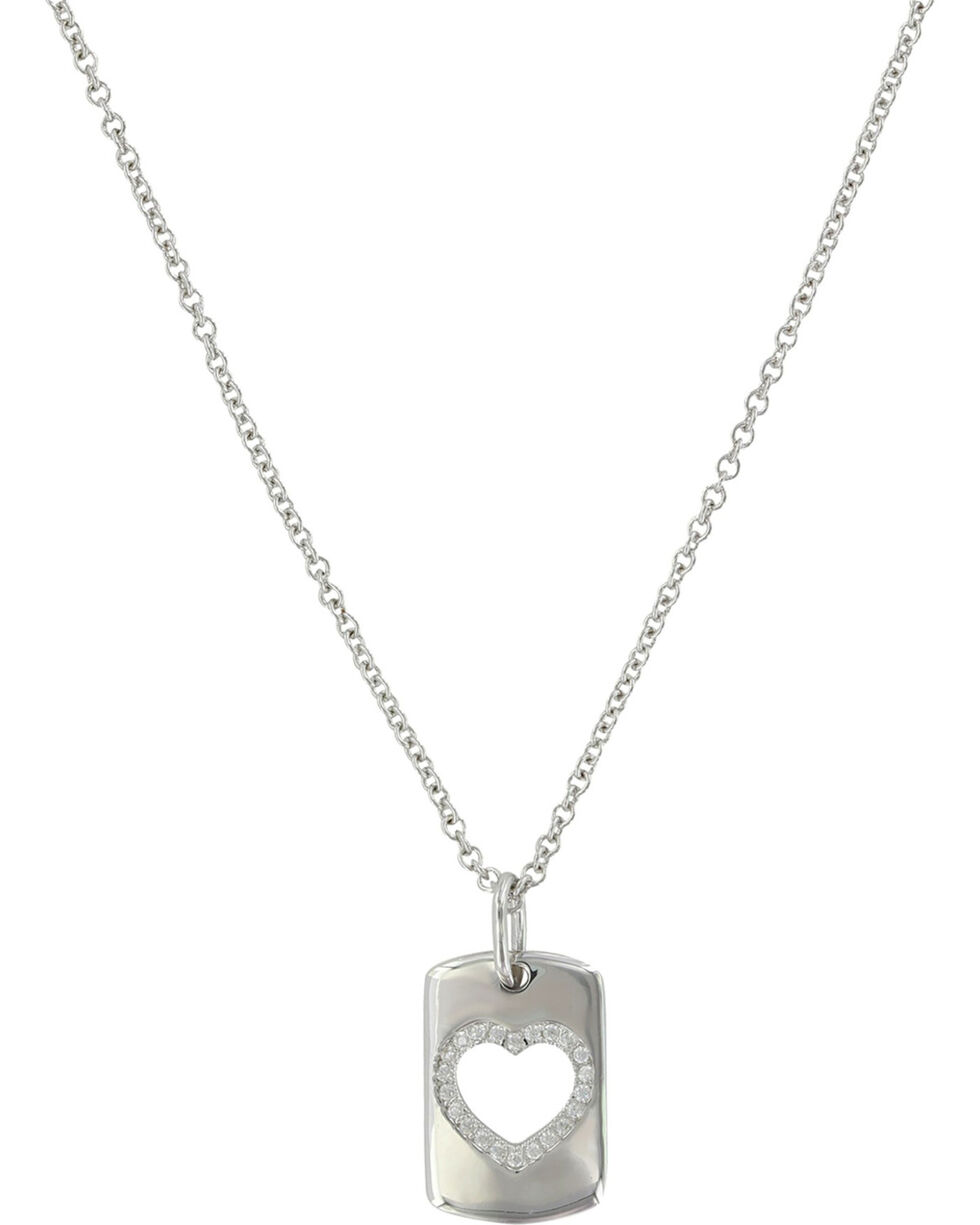 Montana Silversmiths Women's Silver Tag Of Love Heart Necklace , Silver, hi-res
