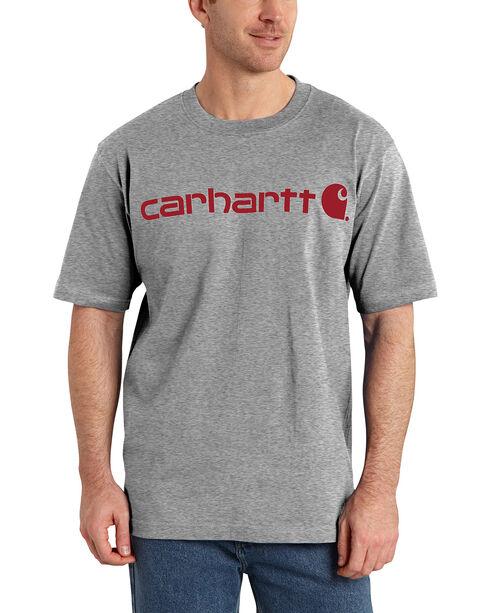 Carhartt Signature Logo Short Sleeve Shirt, Grey, hi-res
