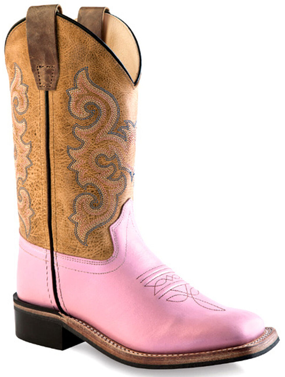 Old West Youth Girls' Pink Cowgirl Boots - Square Toe , Pink, hi-res