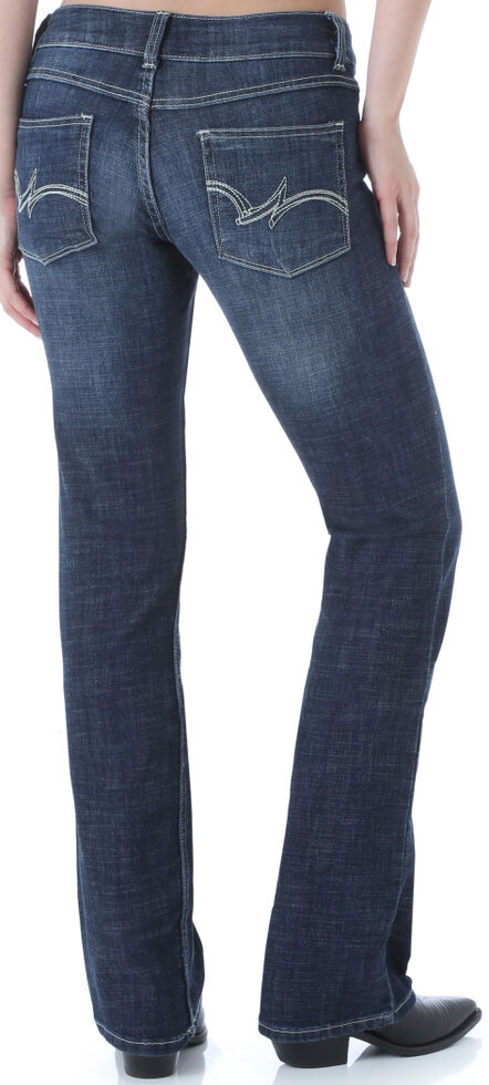2d943df7 Zoomed Image Wrangler Women's Dark Wash Boot Cut Jeans, Dark Blue, hi-res