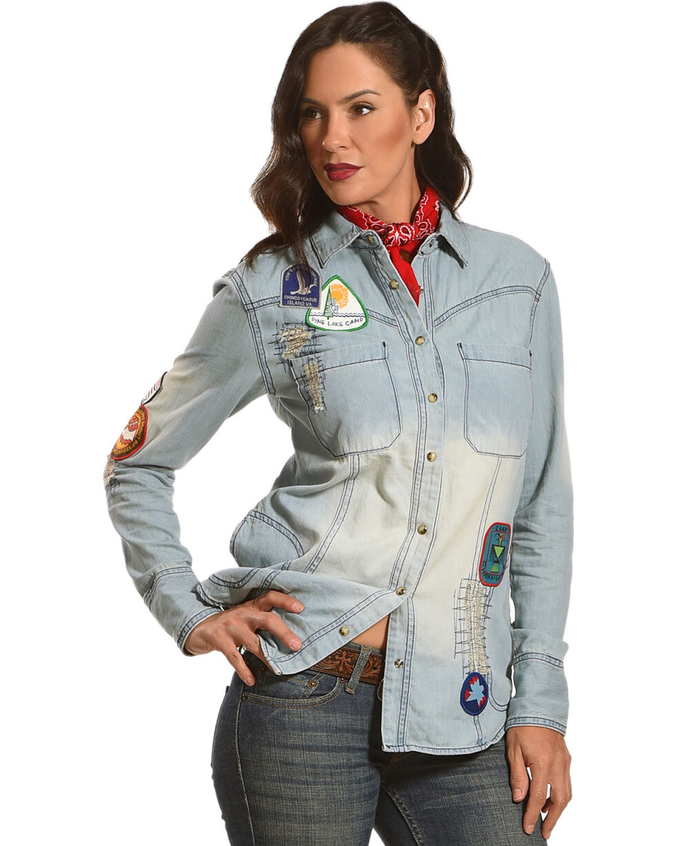 Angel Premium Women's Jackie Denim Patch Long Sleeve Shirt, , hi-res