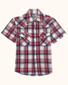 Ely Cattleman Boys' Assorted Plaid Short Sleeve Western Shirt , Red, hi-res