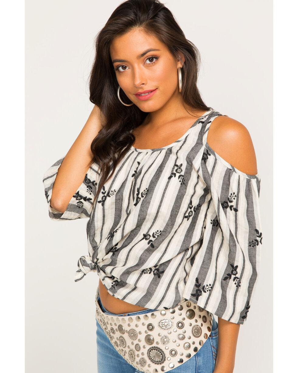 Ivory Love Women's Gray Striped Cold Shoulder Top , Grey, hi-res