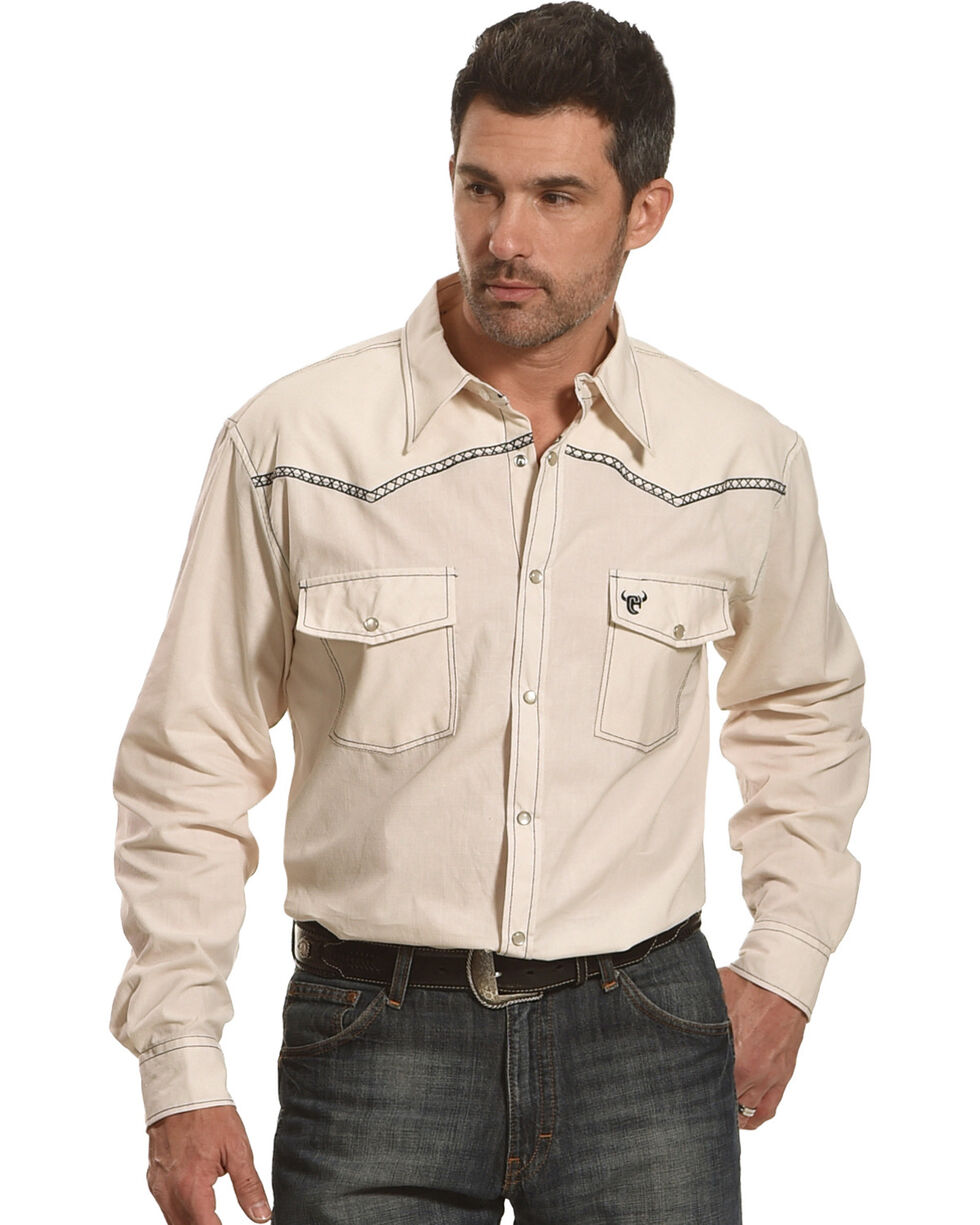 Cowboy Hardware Men's Burlap Print Long Sleeve Shirt, Cream, hi-res