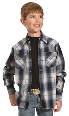 Ely Cattleman Boys' Dobby Plaid Western Shirts, Black, hi-res