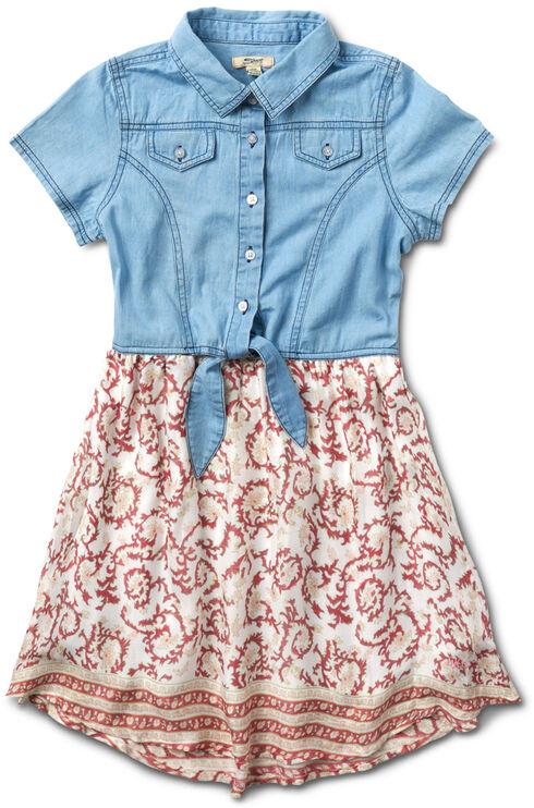 Silver Girls' Coral Denim Top Dress - 4-6X, Coral, hi-res