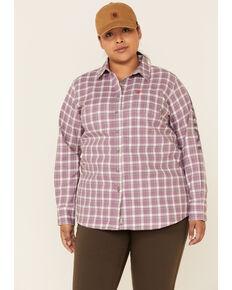 Ariat Women's FR Lavender Plaid Aja Logo Long Sleeve Button-Down Work Shirt - Plus, Lavender, hi-res