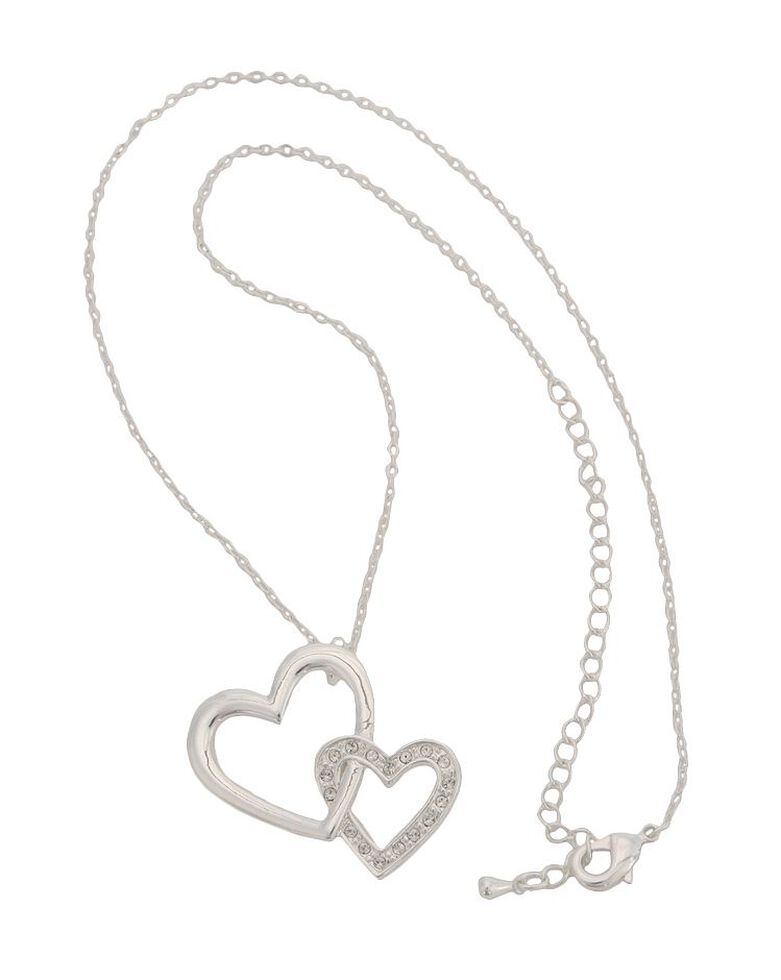 Montana Silversmiths Bedecked Double Heart Necklace, Silver, hi-res