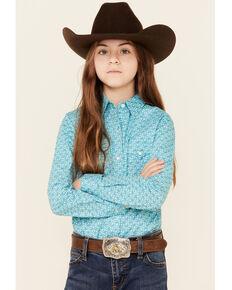 Rough Stock By Panhandle Girls' Light Blue Geo Print Long Sleeve Snap Western Shirt , Light Blue, hi-res