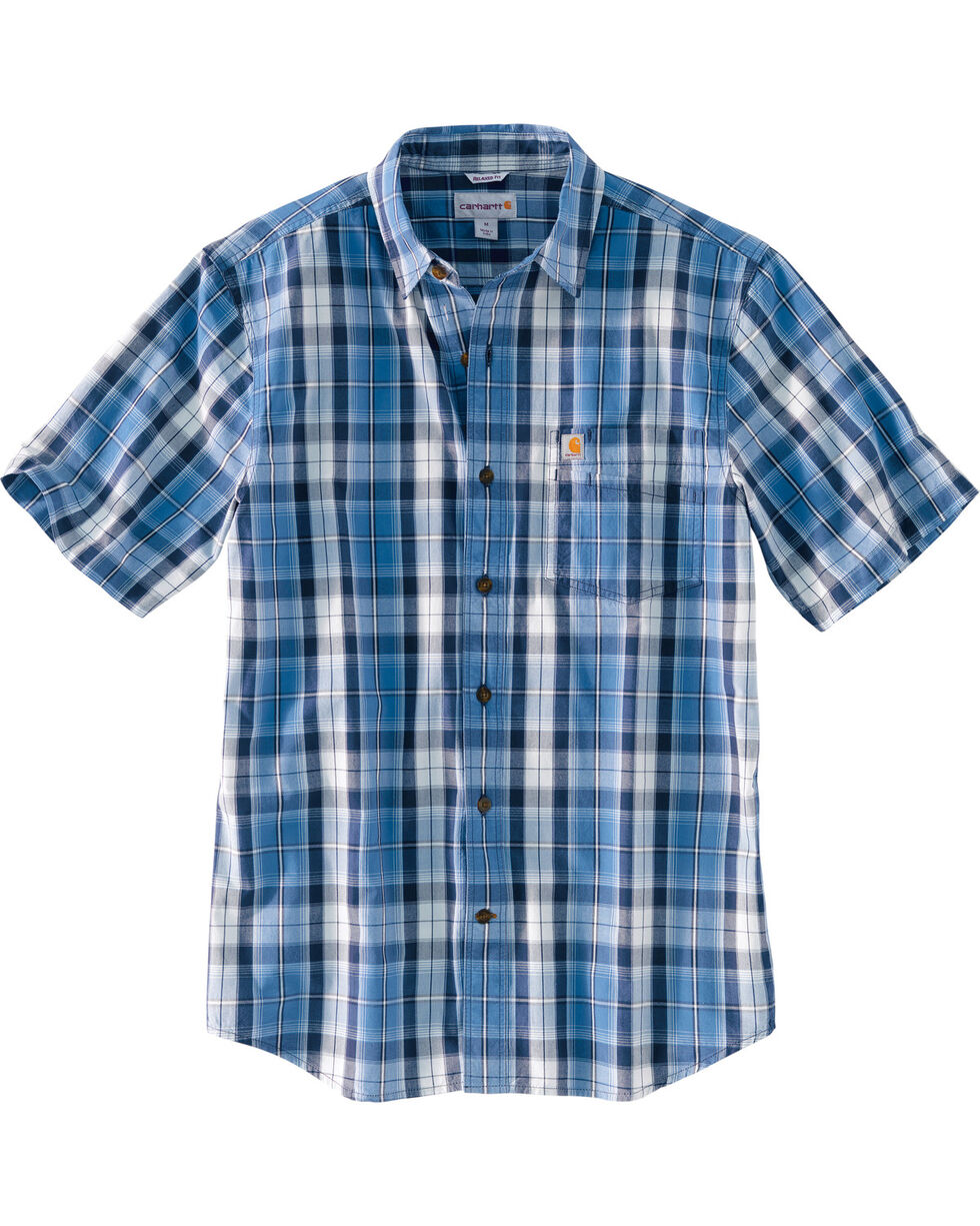 Carhartt Men's Essential Plaid Short Sleeve Shirt, Blue, hi-res