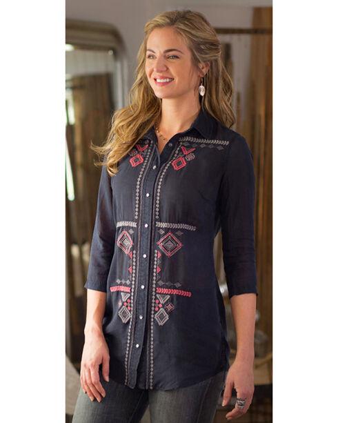 Ryan Michael Women's Embroidered Cupra Rayon Tunic, Black, hi-res