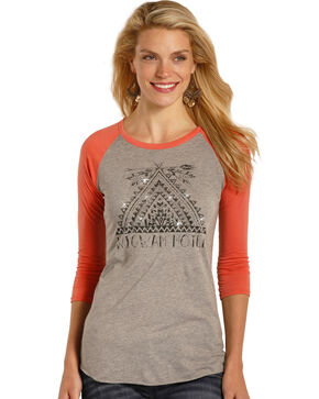 Rock & Roll Cowgirl Women's Coral Wigwam Motel Baseball Tee , Coral, hi-res