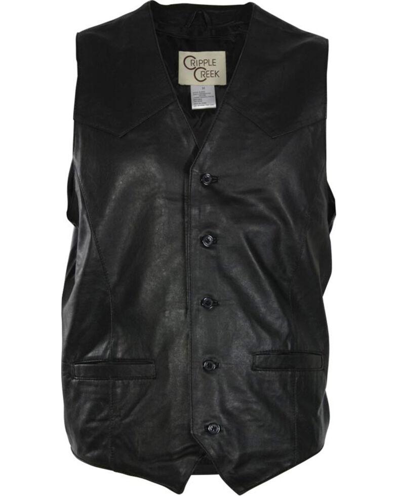 Cripple Creek Men's Lambskin Button Front Vest, Black, hi-res