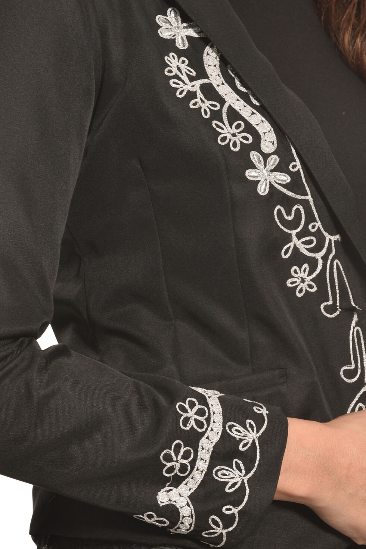 Pink Cattlelac Women's Silver Lurex Western Blazer , Black, hi-res
