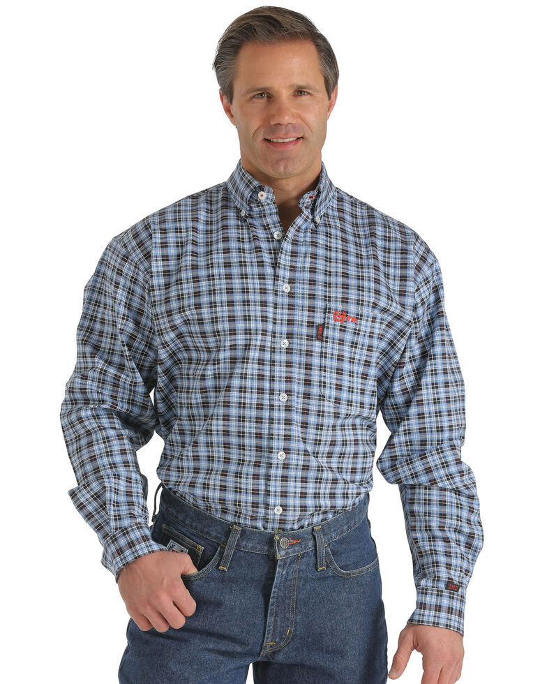 Cinch WRX Men's Flame-Resistant Navy Plaid Long Sleeve Work Shirt , Blue, hi-res