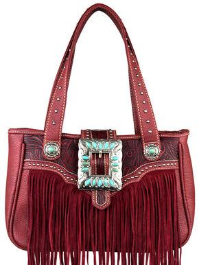 Montana West Trinity Ranch Belt Buckle Handbag with Fringe, Red, hi-res