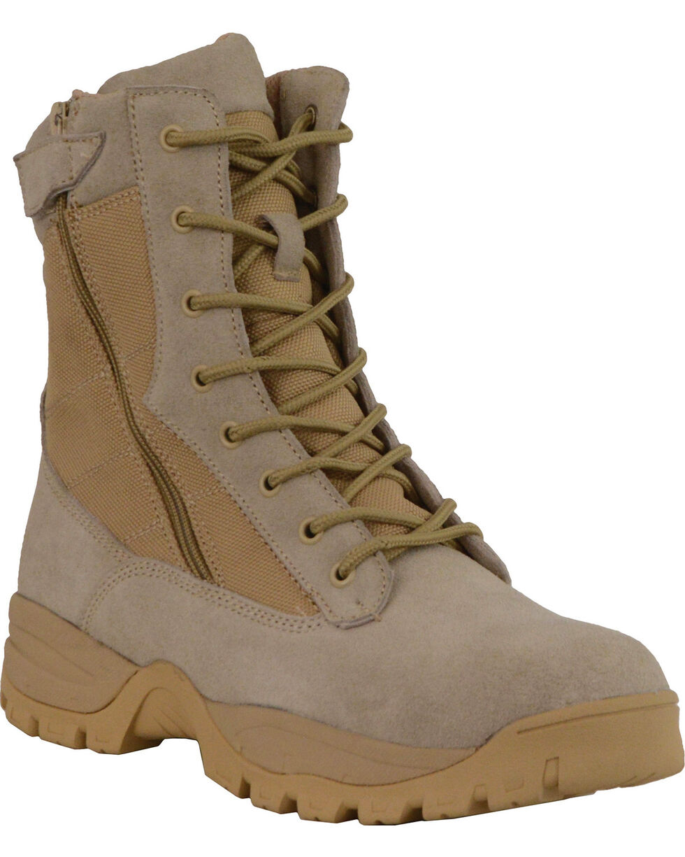 "Milwaukee Leather Men's 9"" Side Zipper Tactical Boots - Round Toe, Sand, hi-res"