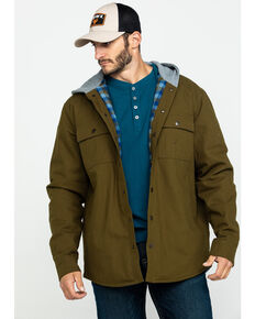 Hawx Men's Olive Flannel Lined Hooded Canvas Shirt Work Jacket - Tall , Olive, hi-res