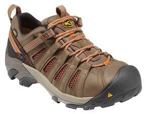 Keen Men's Flint Low Shoes - Steel Toe, Forest Green, hi-res