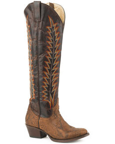 Stetson Women's Brown Miley Python Cowgirl Boots - Round Toe , Brown, hi-res