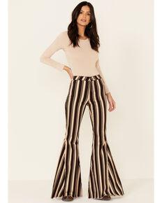Shyanne Women's Striped High Rise Super Flare Jeans , Brown, hi-res