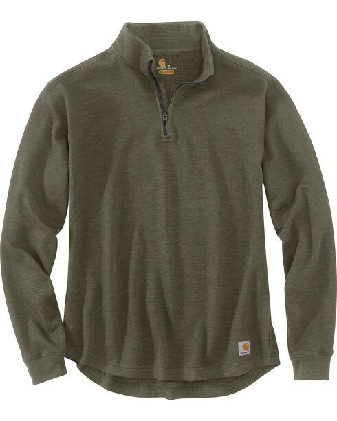 Carhartt Men's Tilden Long Sleeve Mock Neck Quarter Zip Sweatshirt, Moss Green, hi-res