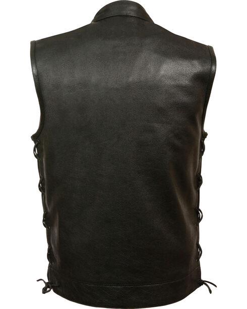 Milwaukee Leather Men's Side Lace Snap/Zip Front Club Vest - Big - 3X, Black, hi-res