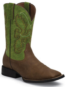 Justin Farm and Ranch Men's Synthetic Cowboy Boots - Wide Square Toe , Bay Apache, hi-res