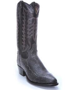 Tony Lama Men's Nicolas Smooth Ostrich Western Boots - Round Toe , Black, hi-res