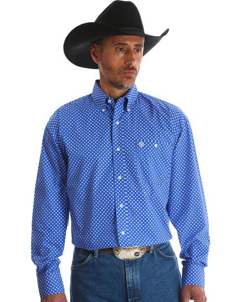 Wrangler Men's Blue George Strait Long Sleeve Shirt - Big & Tall , Blue, hi-res
