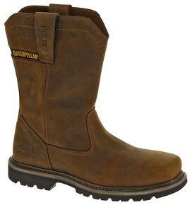 Caterpillar Wellston Pull-On Work Boots - Steel Toe, Dark Brown, hi-res