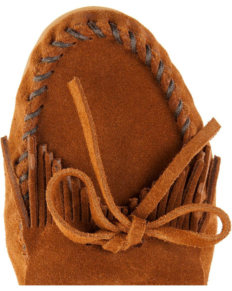Women's Minnetonka Kilty Suede Moccasins - Wide, Brown, hi-res