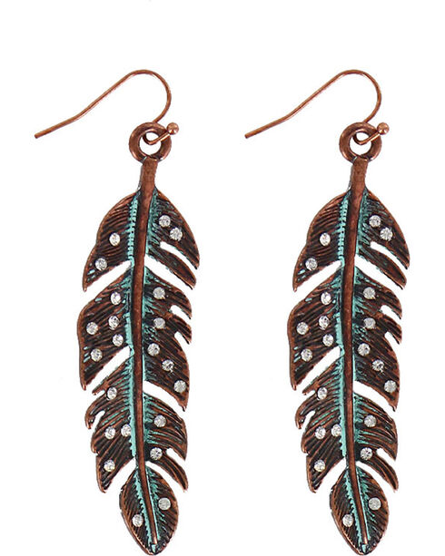 Shyanne Women's Antiqued Feather Earrings, Turquoise, hi-res
