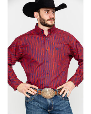 Ariat Men's Commit Geo Print Long Sleeve Western Shirt , Red, hi-res