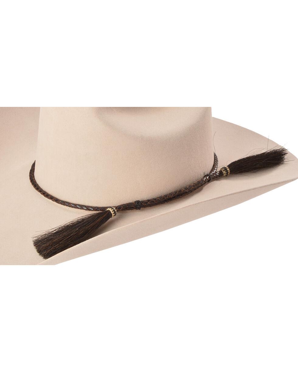Cody James Men's Brown Leather Braid Horse Hair Tassel Hat Band, Brown, hi-res