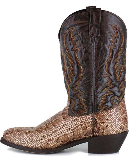 Laredo Men's Brown Snake Print Western Boots - Round Toe  , Brown, hi-res