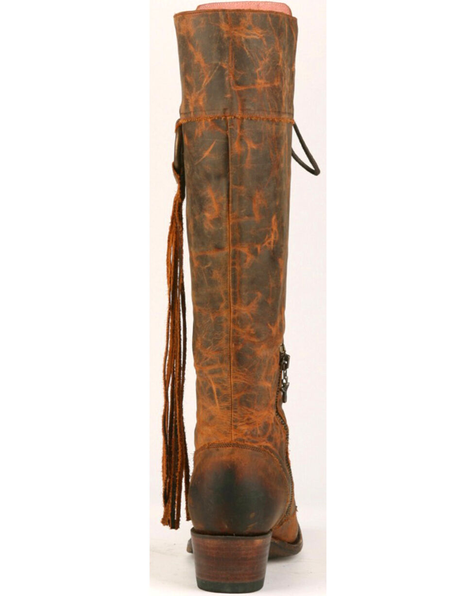 Junk Gypsy by Lane Women's Chili Brown Trailblazer Lace-Up Western Boots - Snip Toe , Chili, hi-res
