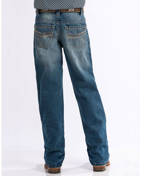 Cinch Boys' Medium Stonewash Relaxed Fit Boot Cut Jeans (8-18), Indigo, hi-res
