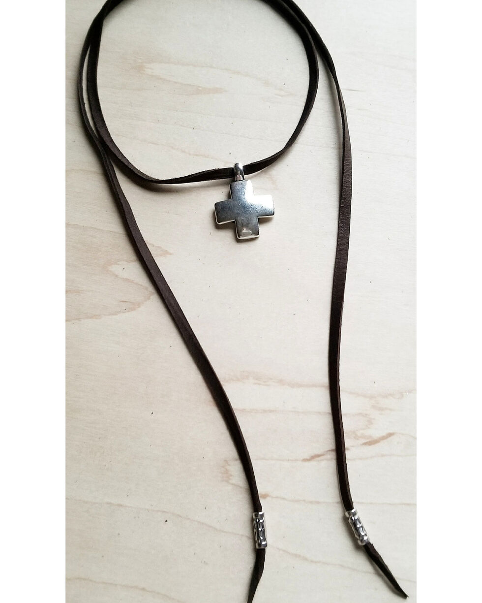 Jewelry Junkie Women's Brown Silver Cross Pendant Leather Necklace , Brown, hi-res