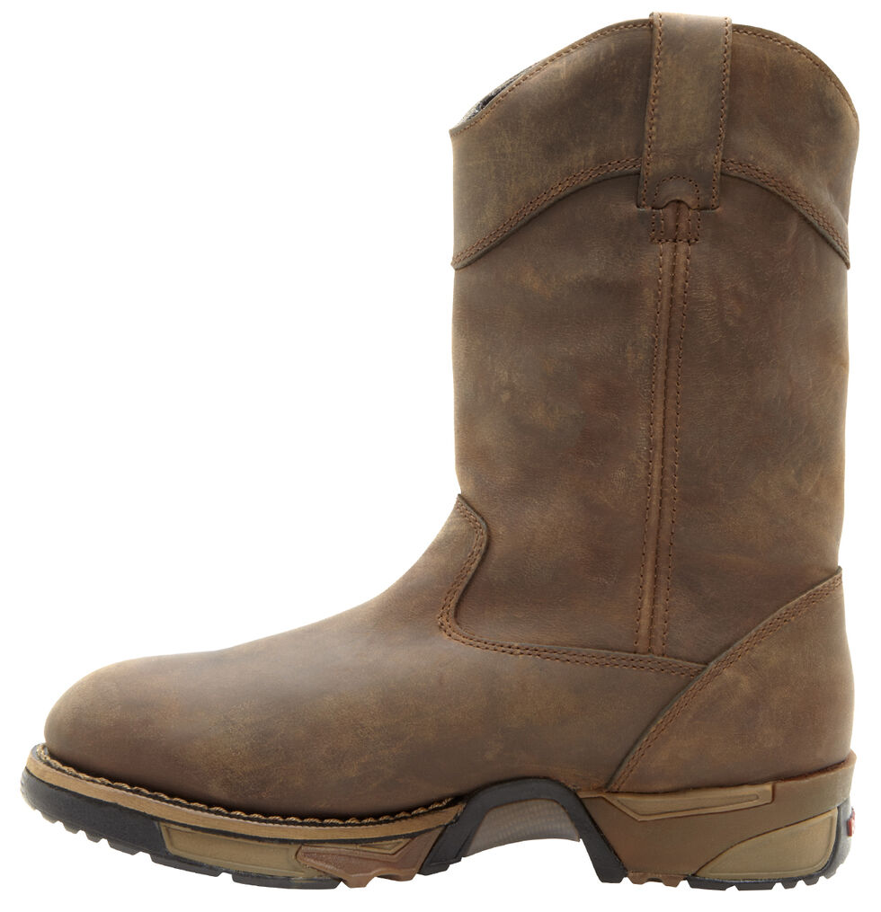 Rocky Waterproof Wellington Work Boots - Steel Toe, Tan, hi-res