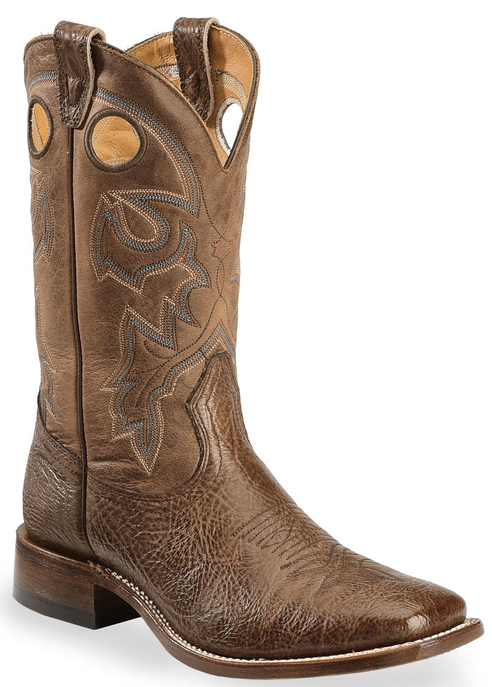 Boulet Men's Stockman Cowboy Boots - Wide Square Toe, Dark Brown, hi-res