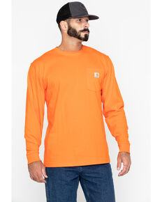 Carhartt Men's Solid Pocket Long Sleeve Work T-Shirt, Orange, hi-res